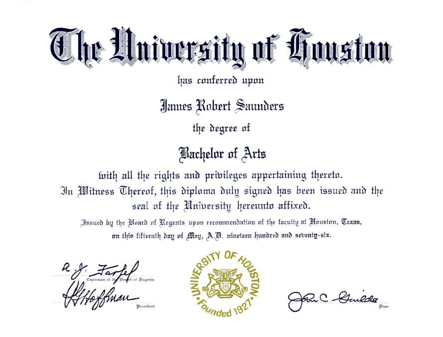 Tolle University Of Houston Diplom Rahmen Bilder ...